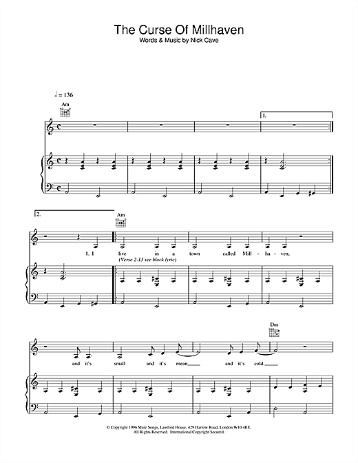 Nick Cave The Curse Of Millhaven sheet music notes printable PDF score