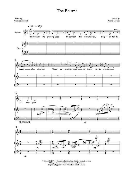 Nicola LeFanu The Bourne (for soprano & harp) sheet music notes printable PDF score