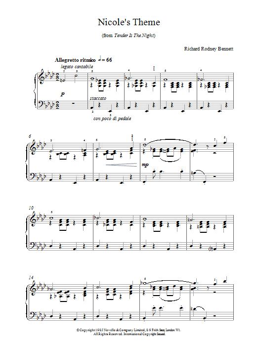 Richard Rodney Bennett Nicole's Theme sheet music notes printable PDF score