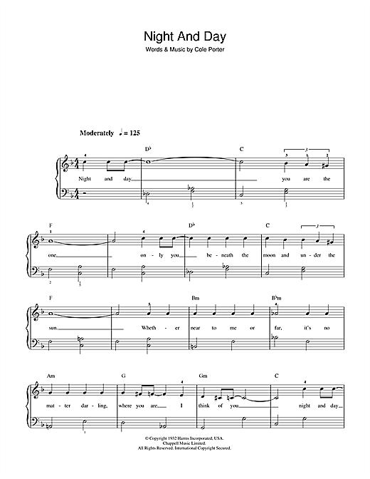 Frank Sinatra Night And Day sheet music notes printable PDF score
