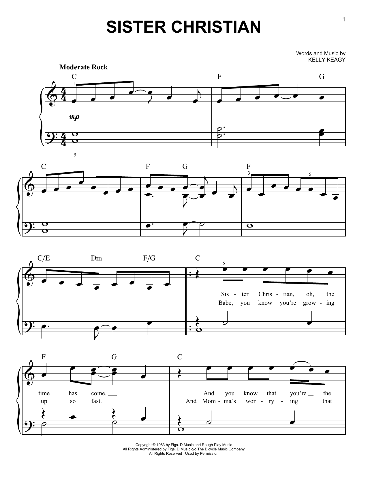 Night Ranger Sister Christian sheet music notes and chords. Download Printable PDF.