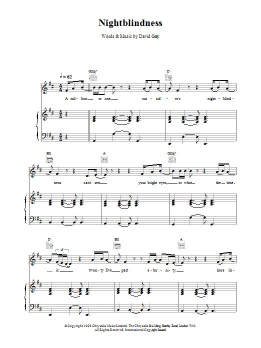 David Gray Nightblindness sheet music notes printable PDF score