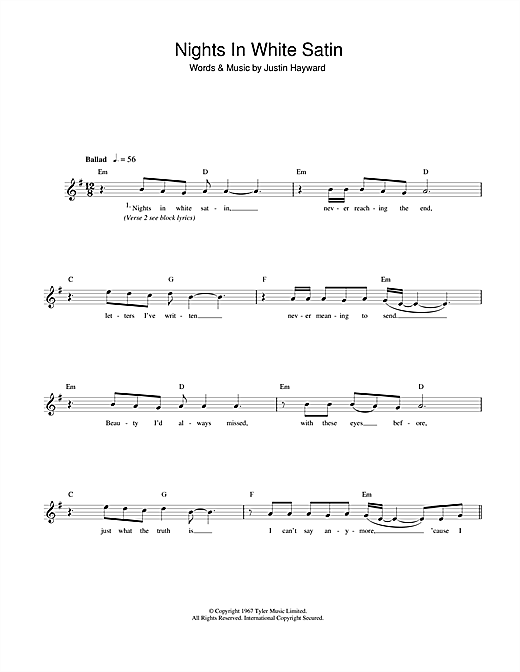 The Moody Blues Nights In White Satin sheet music notes printable PDF score
