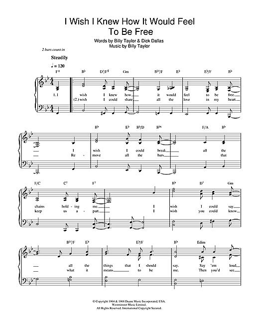 Nina Simone I Wish I Knew How It Would Feel To Be Free sheet music notes printable PDF score