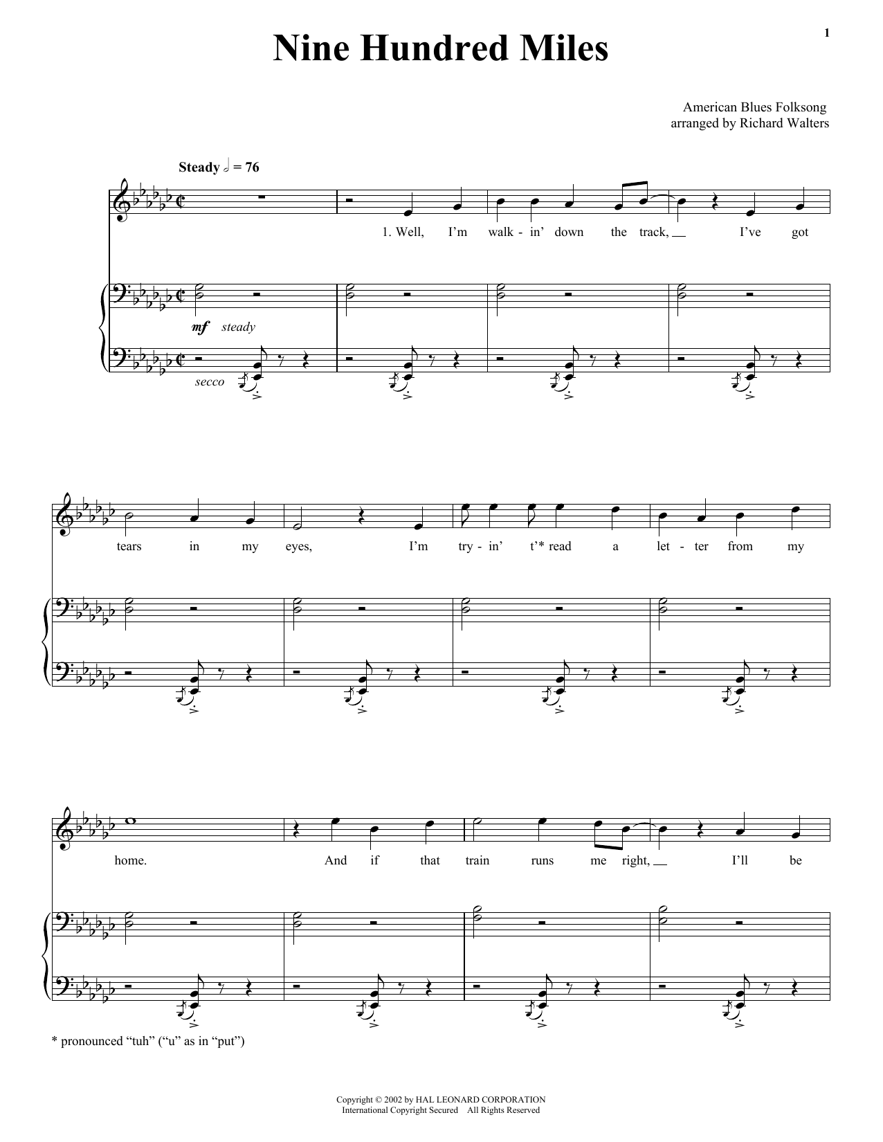 Traditional Nine Hundred Miles sheet music notes printable PDF score
