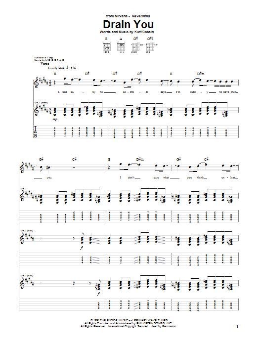 Nirvana Drain You sheet music notes and chords. Download Printable PDF.