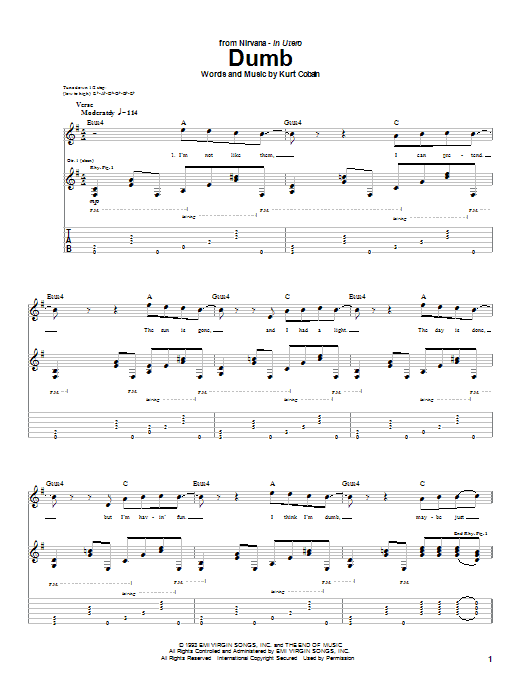Nirvana Dumb sheet music notes and chords. Download Printable PDF.