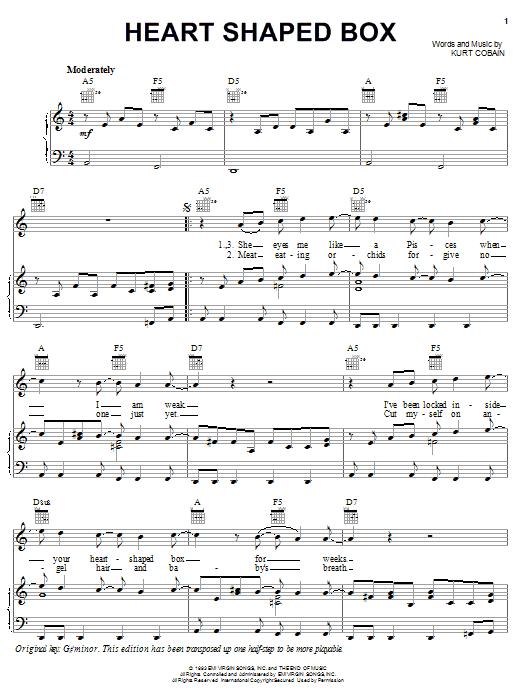 Nirvana Heart Shaped Box sheet music notes and chords. Download Printable PDF.