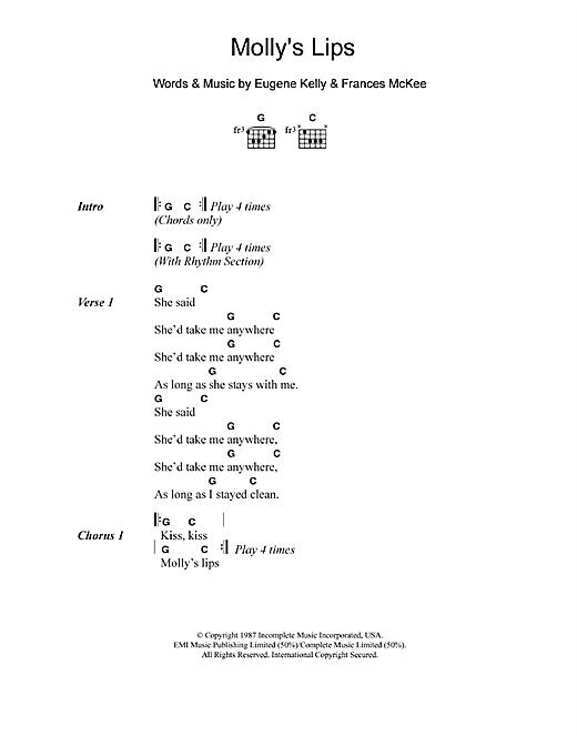 Nirvana Molly's Lips sheet music notes and chords - download printable PDF.