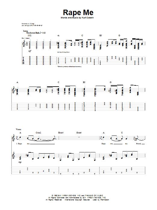 Nirvana Rape Me sheet music notes and chords. Download Printable PDF.