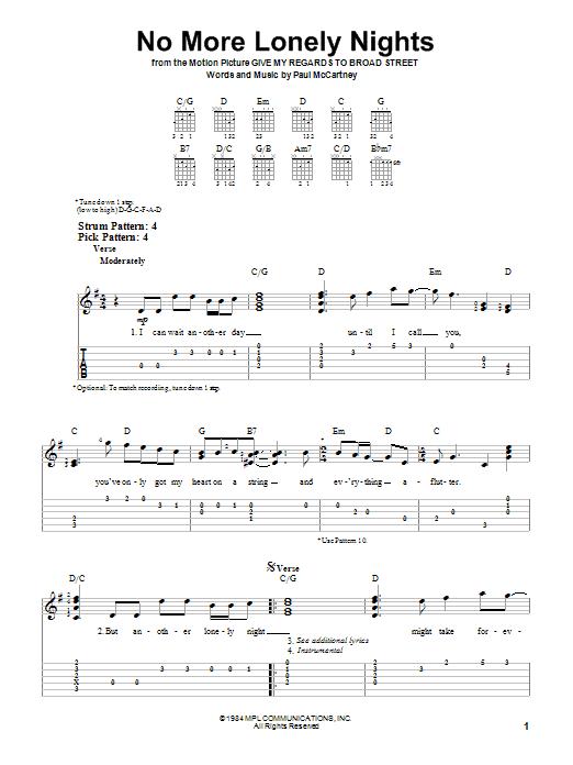 Paul McCartney No More Lonely Nights sheet music notes printable PDF score