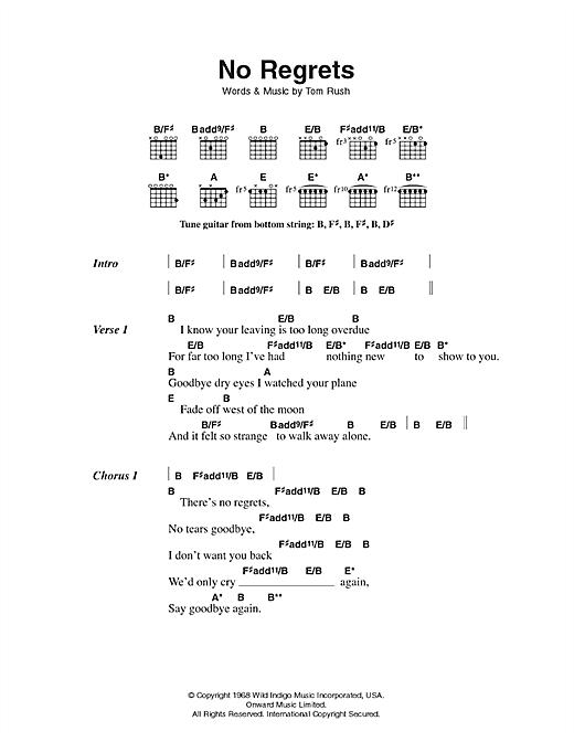Scott Walker No Regrets sheet music notes printable PDF score