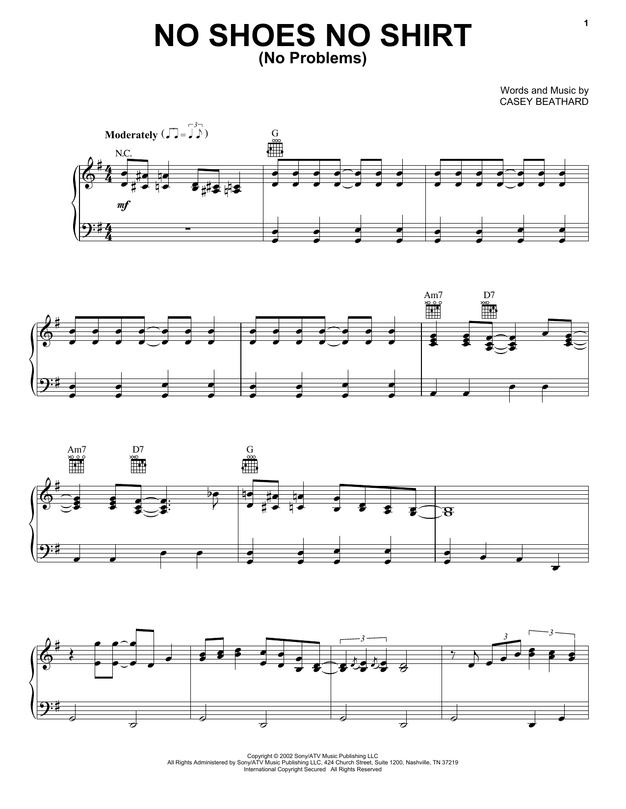 Kenny Chesney No Shoes No Shirt (No Problems) sheet music notes printable PDF score