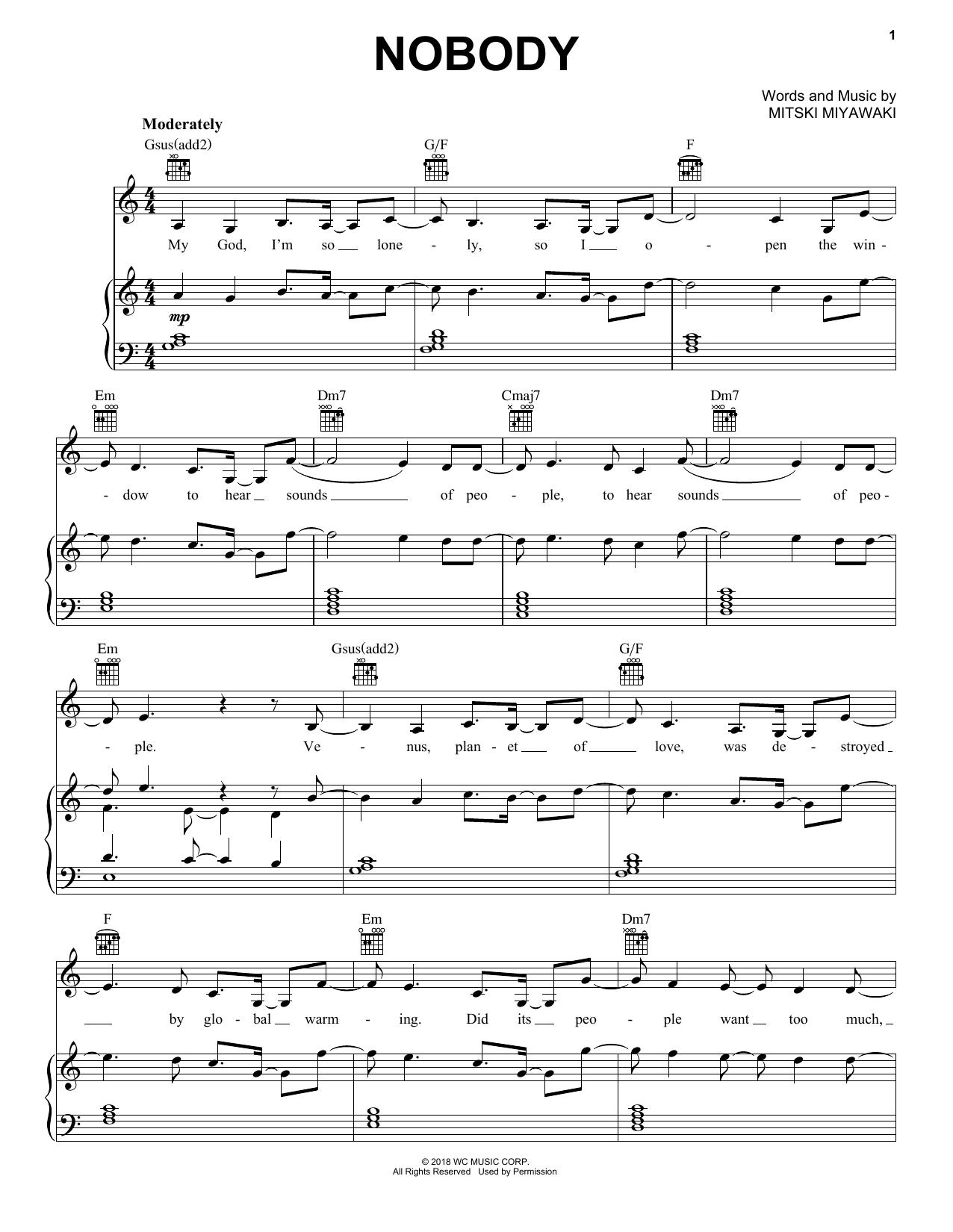 Mitski Nobody sheet music notes printable PDF score