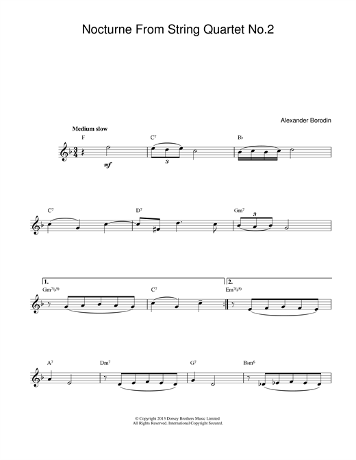 Alexander Borodin Nocturne From String Quartet No.2 sheet music notes printable PDF score
