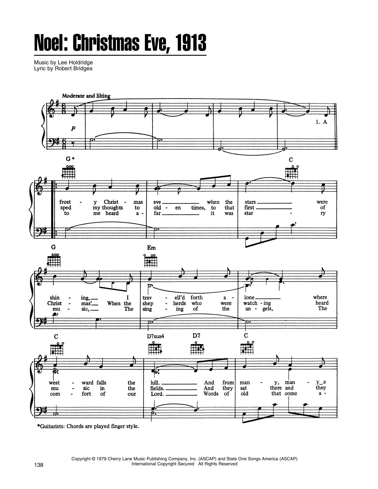 John Denver and The Muppets Noel: Christmas Eve, 1913 (from A Christmas Together) sheet music notes printable PDF score