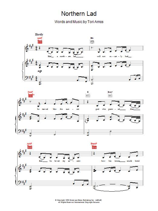 Tori Amos Northern Lad sheet music notes printable PDF score