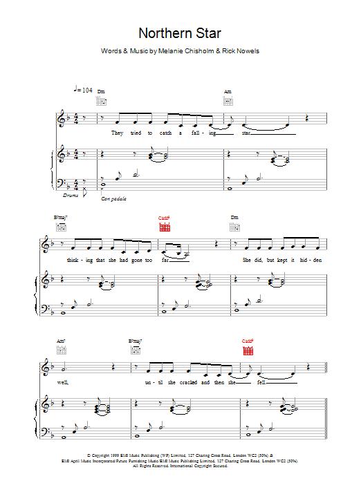 Melanie C Northern Star sheet music notes printable PDF score