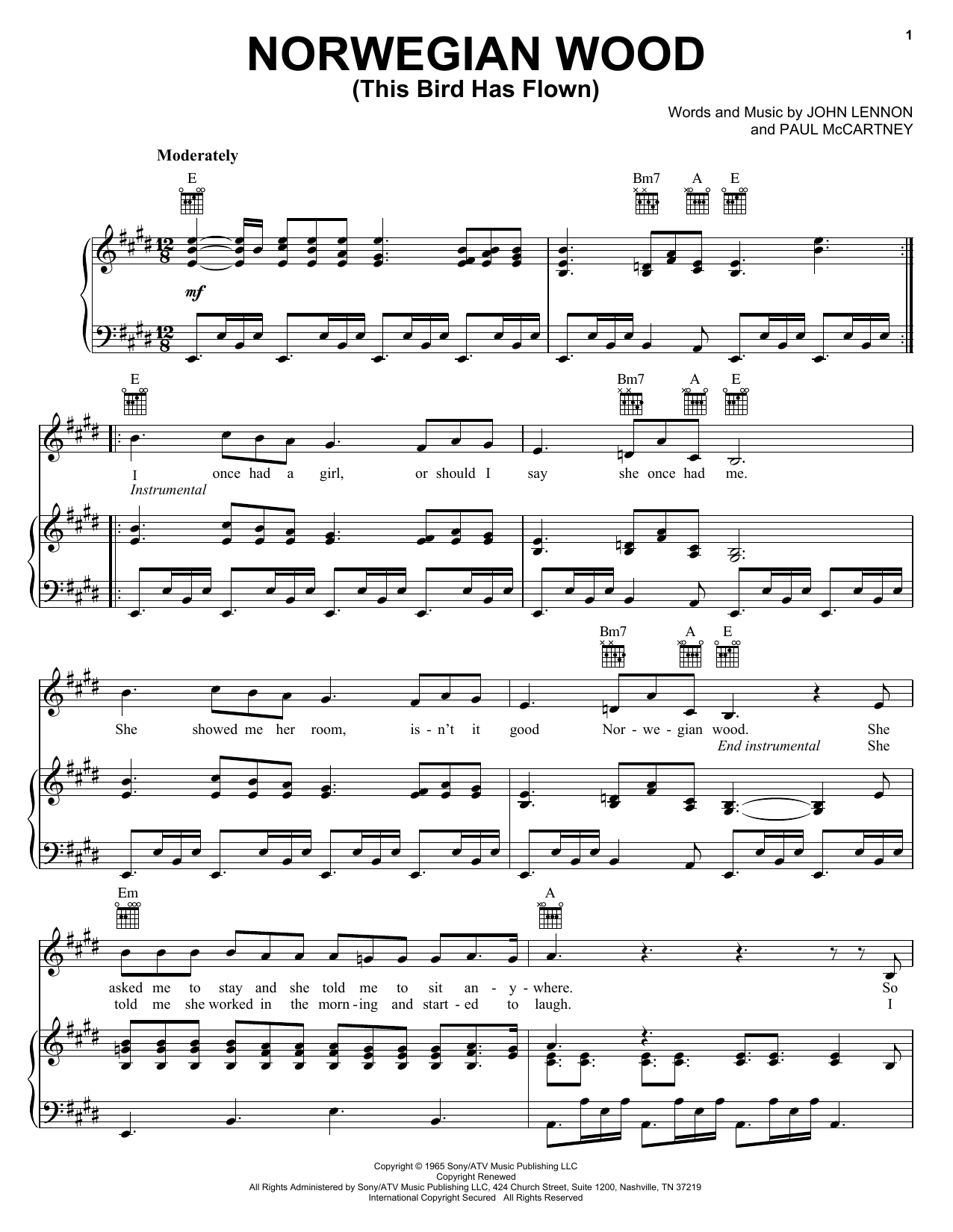 The Beatles Norwegian Wood (This Bird Has Flown) sheet music notes printable PDF score