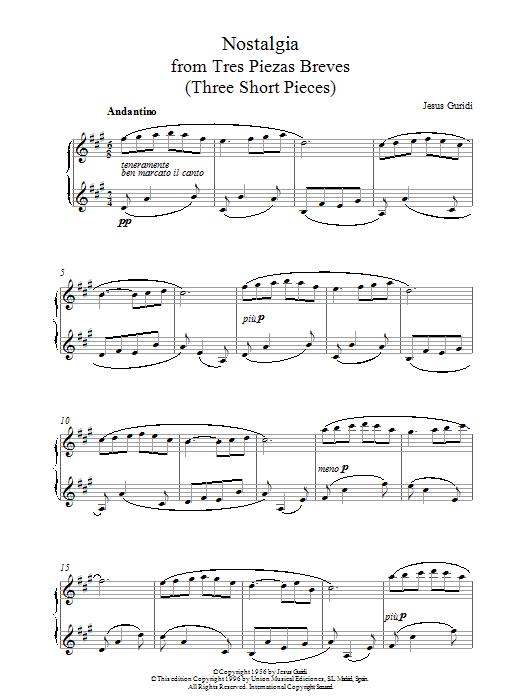 Jesus Guridi Nostalgia From Tres Piezas Breves sheet music notes printable PDF score