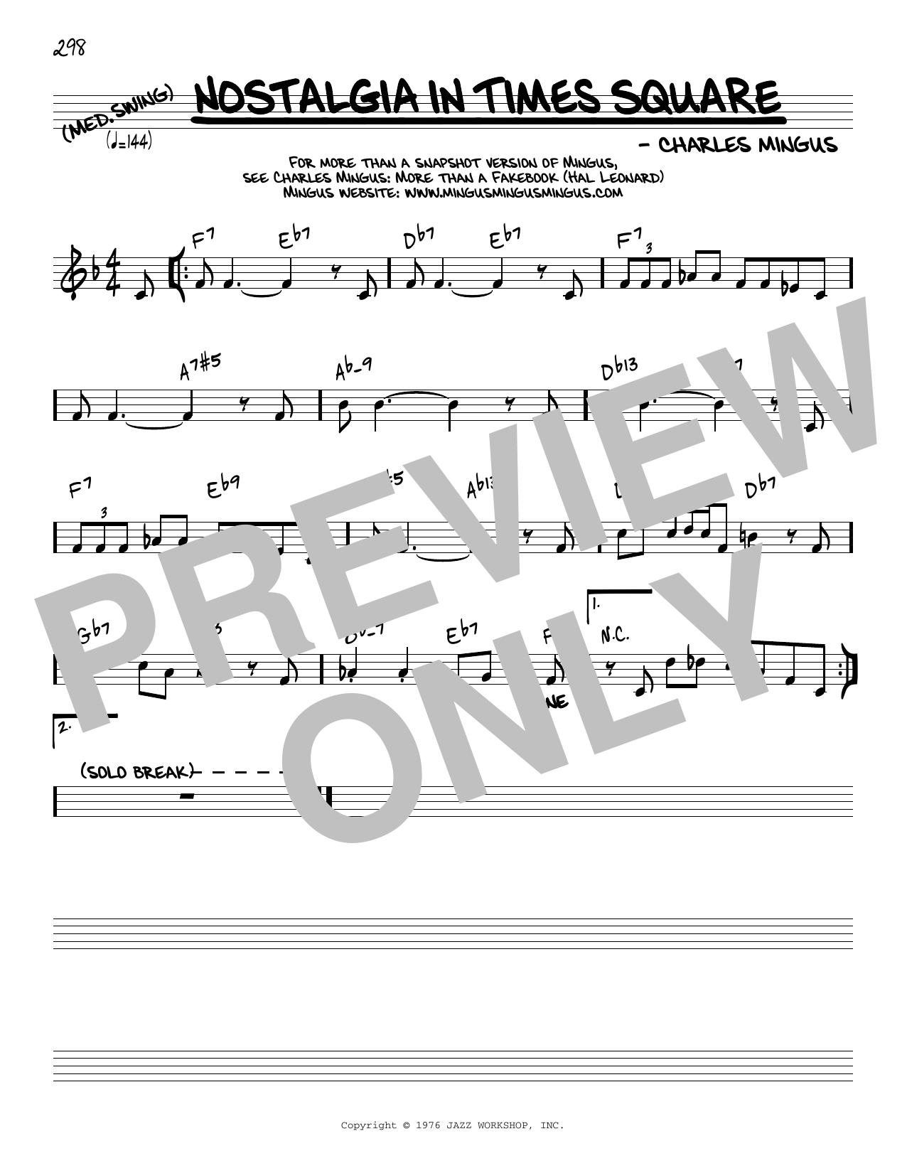 Charles Mingus Nostalgia In Times Square [Reharmonized version] (arr. Jack Grassel) sheet music notes printable PDF score