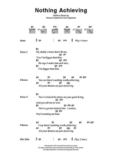 The Police Nothing Achieving sheet music notes printable PDF score