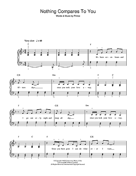 Sinead O'Connor Nothing Compares 2 U sheet music notes printable PDF score