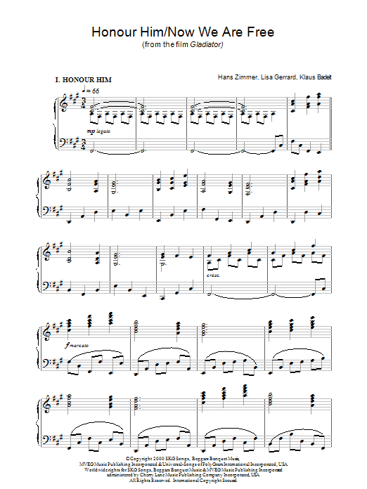 Hans Zimmer Now We Are Free (from Gladiator) sheet music notes printable PDF score