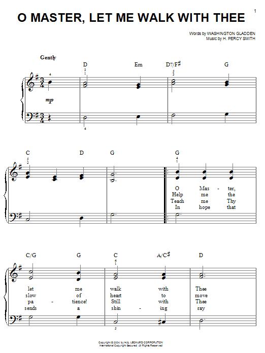 Washington Gladden O Master, Let Me Walk With Thee sheet music notes printable PDF score