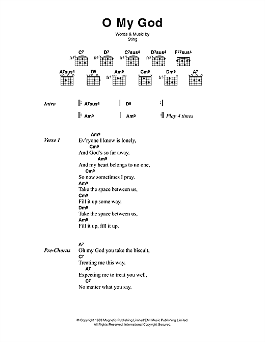 The Police O My God sheet music notes printable PDF score