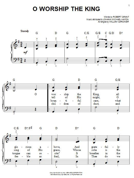 Robert Grant O Worship The King sheet music notes printable PDF score