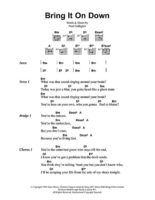 Oasis Bring It On Down sheet music notes printable PDF score
