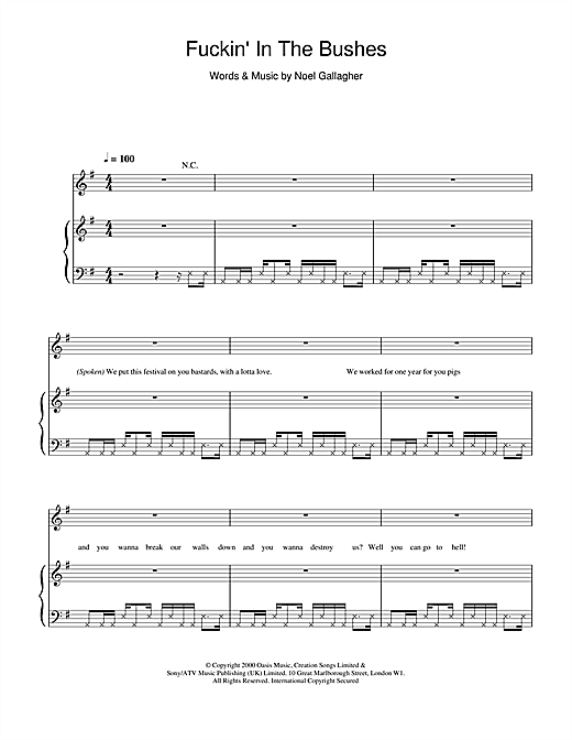 Oasis Fuckin' In The Bushes sheet music notes printable PDF score