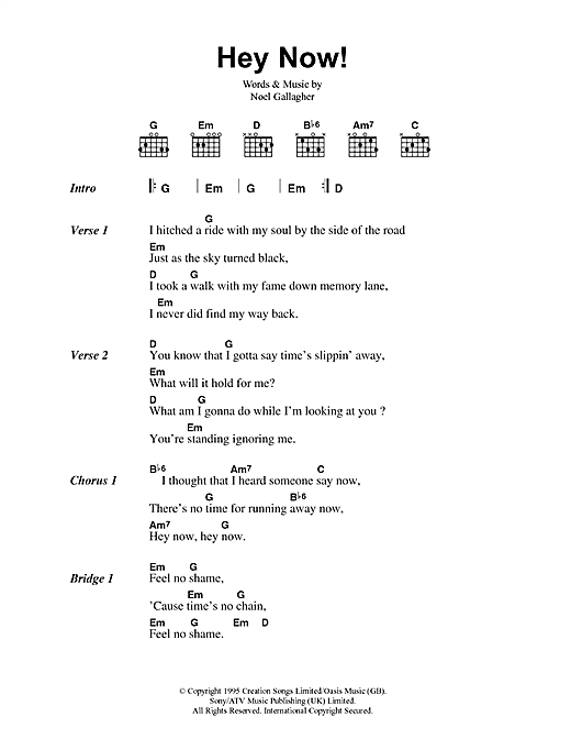 Oasis Hey Now sheet music notes printable PDF score