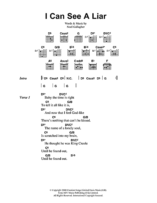 Oasis I Can See A Liar sheet music notes printable PDF score