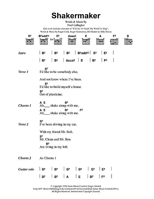 Oasis Shakermaker sheet music notes printable PDF score