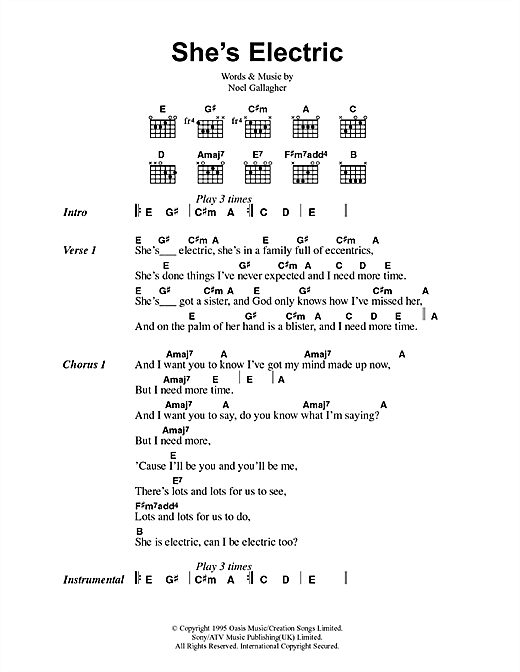 Oasis She's Electric sheet music notes printable PDF score
