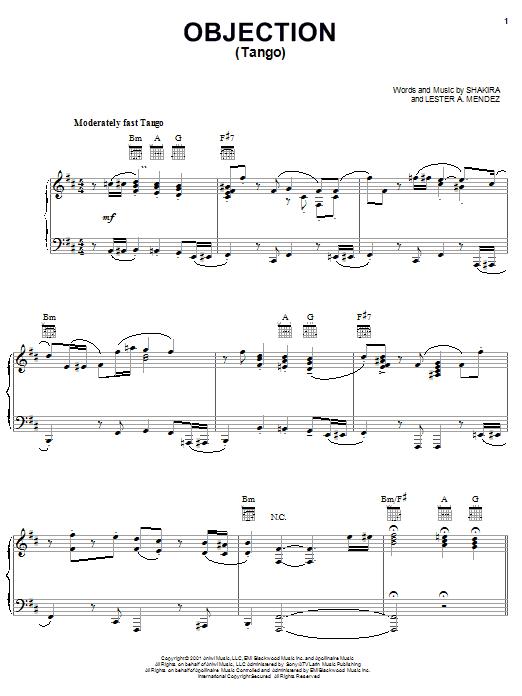 Shakira Objection (Tango) sheet music notes printable PDF score