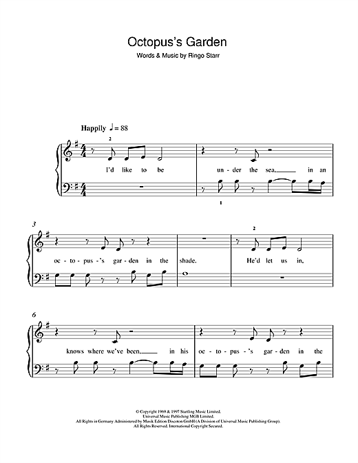 The Beatles Octopus's Garden sheet music notes printable PDF score