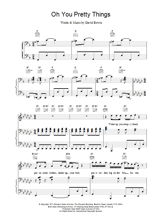David Bowie Oh! You Pretty Things sheet music notes printable PDF score