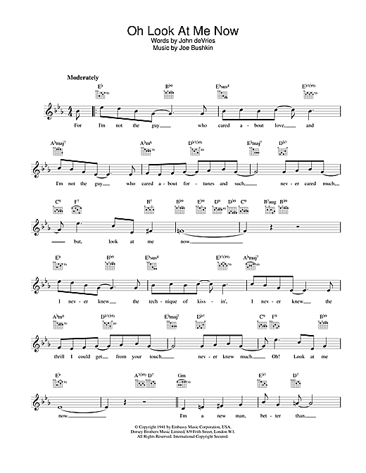 Frank Sinatra Oh Look At Me Now sheet music notes printable PDF score