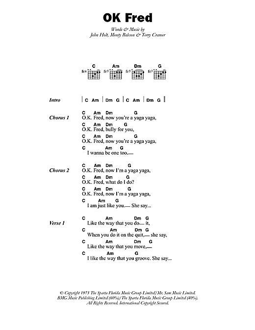 Errol Dunkley OK Fred sheet music notes printable PDF score