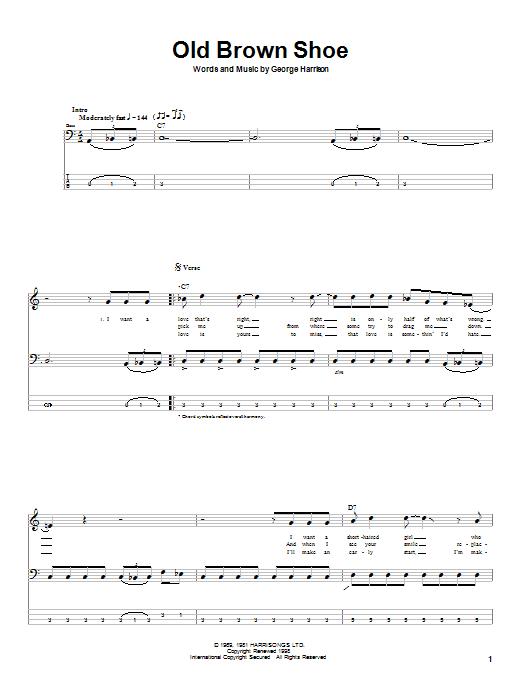 The Beatles Old Brown Shoe sheet music notes printable PDF score