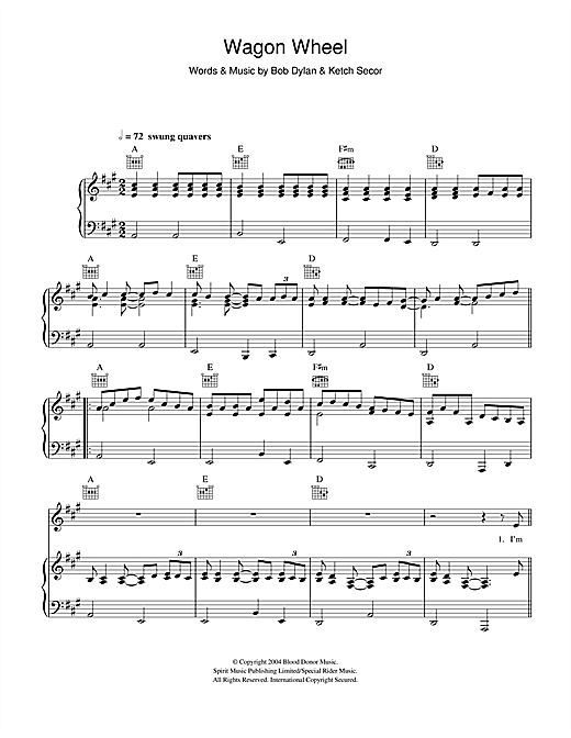 Old Crow Medicine Show Wagon Wheel sheet music notes and chords. Download Printable PDF.