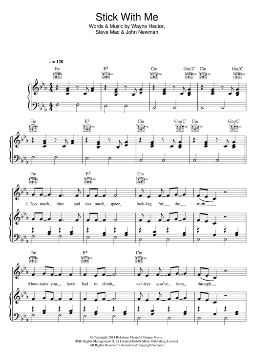 Olly Murs Stick With Me sheet music notes and chords. Download Printable PDF.