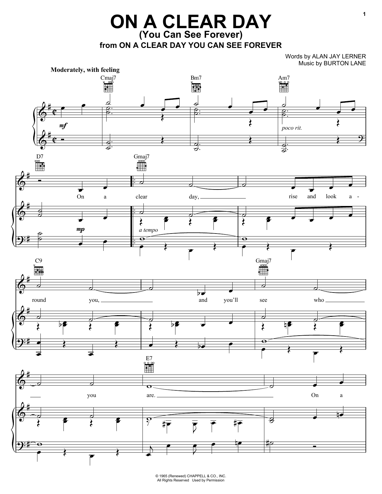 Frank Sinatra On A Clear Day (You Can See Forever) sheet music notes printable PDF score