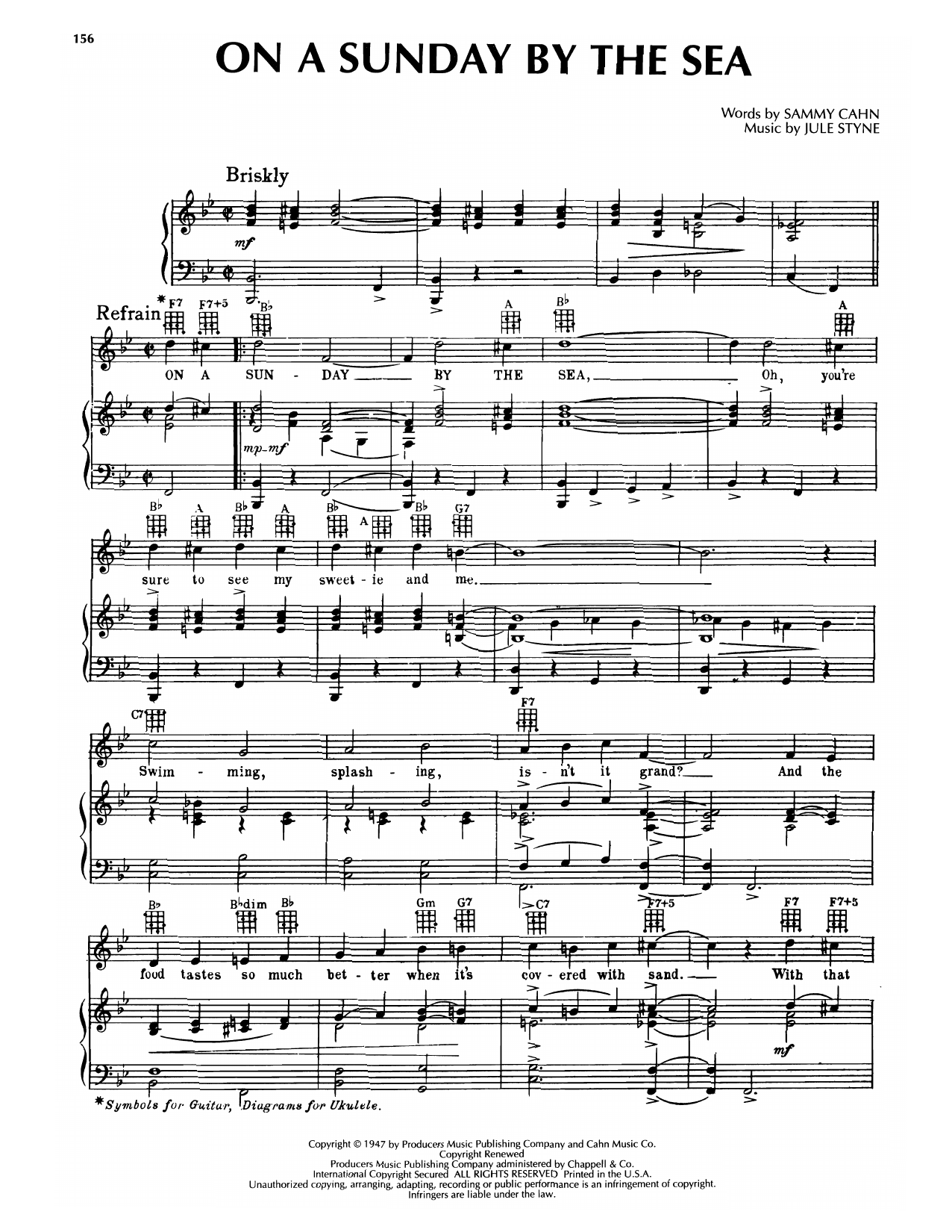 Sammy Cahn & Jule Styne On A Sunday By The Sea (from High Button Shoes) sheet music notes printable PDF score