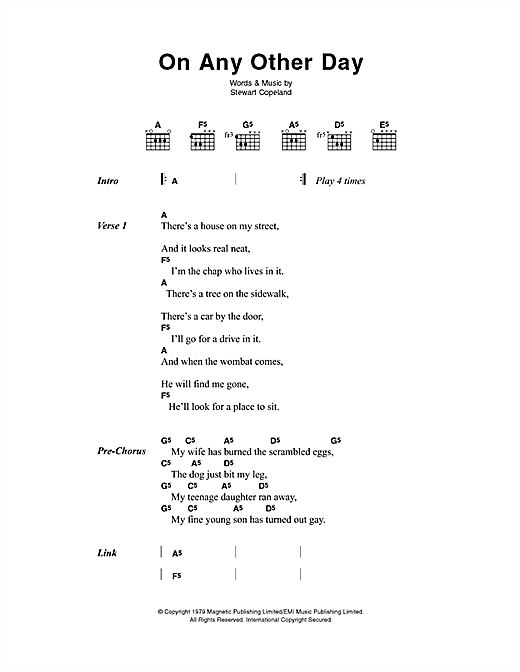 The Police On Any Other Day sheet music notes printable PDF score