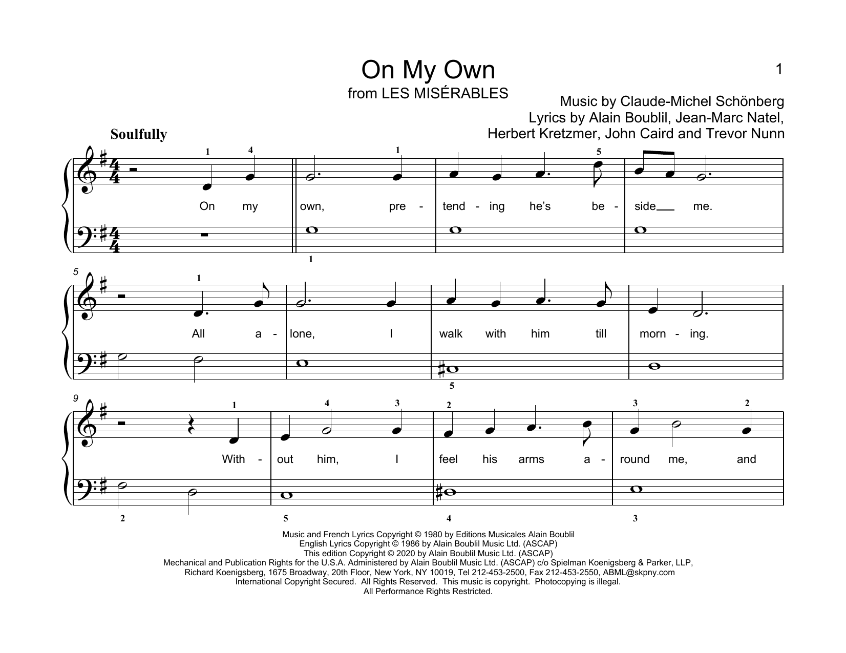 Alain Boublil & Claude-Michel Schonberg On My Own (from Les Miserables) (arr. Christopher Hussey) sheet music notes printable PDF score