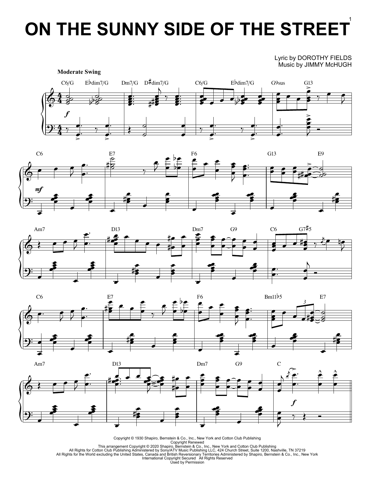 Dorothy Fields On The Sunny Side Of The Street [Jazz version] (arr. Brent Edstrom) sheet music notes printable PDF score